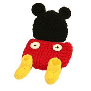 Costume adorable de bébé de souris de dessin animé, tricot tricoté à la main de chapeau de chapeau de bébé de fille de garçon, couvre-couche et ensemble de chaussures, photo infantile de nouveau-né Pr