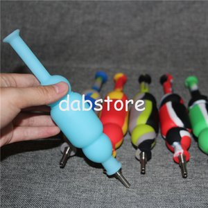 factory Silicone Nectar Collectors With 10mm Real Ti Tips Gr2 Titanium Nails Silicone Hookahs Pipes Mini Dab Bongs Straws