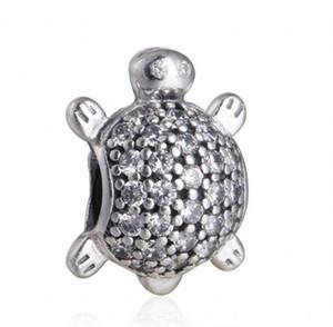 Nouvelle tortue de mer Charms Bracelets Fits européen original 925 argent sterling clair Charme animal cristal Pave tortue Femmes Coffret Cadeau Bricolage Bijoux