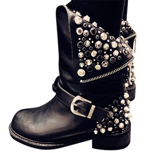 2017 새로운 진짜 가죽 + pu 유행 부츠 여성 지퍼는 평방 발 뒤꿈치 가을 겨울 발목 시동 숙녀 눈 구두를 rivets
