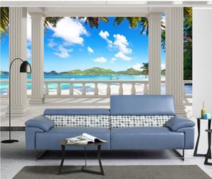 parede de fundo vista mar coco Varanda mural 3d papel de parede 3d papéis de parede para TV pano de fundo