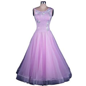 Ballsaal-Walzer-Kleider Wettbewerbskleid Tanzen-Outfits Ballsaal-Tango-Tanzkostüme Kundenspezifische Größe D0153 Große schiere Saum Strasssteine