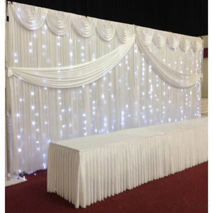White ice silk Wedding Backdrop Curtains Simple Design Swag Satin party backgroundd drape curtain wedding decoration 10ftX20ft