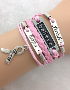 Wholesale- 3pcs Love,faith,believe and Breast Cancer Awareness Charm Bracelet in Silver - Breast Cancer Awareness 1726 Min order 10$