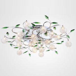LED 천장 조명 현대 녹색 잎 조명 크리스탈 볼 천장 조명 알루미늄 와이어 천장 램프 거실 샹들리에 6/10/15 조명