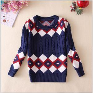 Retail 2018 New Boys Fall Winter Sweaters Children Geometric Patterns Plaid Sweatshirts Kids Keep Warm Pullover Boy Sweater 100-140cm