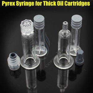 Nuevo Luer Lock Pyrex Jeringa Cabeza de punta de vidrio Inyector de 1 ML para cartuchos de aceite de Co2 gruesos Tanque de color claro Tacto BUD e cigarrillos atomizadores atomizadores