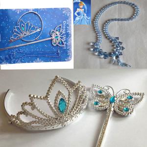 Kızlar kolye Sihirli Değnek Crown Princess Cinderella Giydir Parti Çelenkler Aksesuarları Çocuk Çocuk Noel Cadılar Bayramı Hediye HH7-103 ayarlar