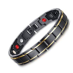 Braccialetti di salute degli uomini d'argento neri Braccialetti Magnetici H Potenza Bracciale in acciaio inossidabile gioielli per uomo e donna