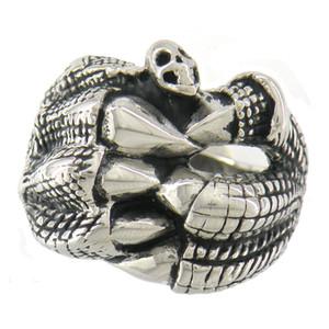 EDELSTAHL Punk Vintage Herren oder Damen SCHMUCK CLAW HOLD SKULL SIEGELRING MEDAILLON RING BIKER RING 10W16