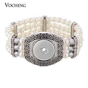 Нуса жемчужный браслет имбирь Оснастки ювелирные изделия белый бисером стрейч для женщин подходят 18 мм прелести VOCHENG НН-553