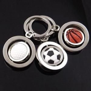 Fashion 3D Sports Rotating Basketball Football Golf keychain Keyring souvenirs Pendant Keyfob key chain key ring Key Holder Rotate