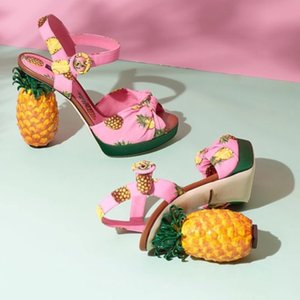Colorful Pineapple Heels Sandals Women Shoes Pajarita open toe Tacones altos Gladiadores Unique Designer Summer Sandalias Mujer