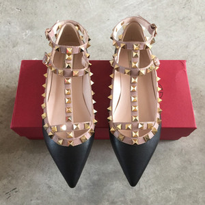 Correa de cuero genuino tachonado zapatos de tacón plano punta estrecha tobillo abrigo remaches sandalias de charol pisos zapatos de damas de San Valentín
