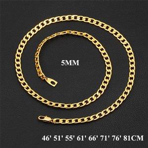 18k Damga Yüksek Kaliteli 18K Sarı Altın Dolgulu 5MM Erkekler Kadınlar Takı Zinciri ile Moda Zincirler Kolye 46cm -81cm JNL1019