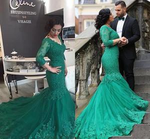 2020 мантий корсета Arabic Hunter Green Mermaid платьев вечера V шеи шнурка Аппликация Бисероплетение Sexy Back суд поезд Формальное платье партии