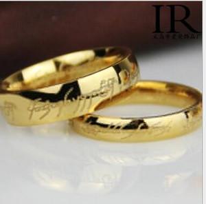 في الهوبيت وسيد الخواتم 18K الأسود خاتم من الفضة مطلي أزياء للرجال مجوهرات خواتم الحجم 16-21 4MM 6MM