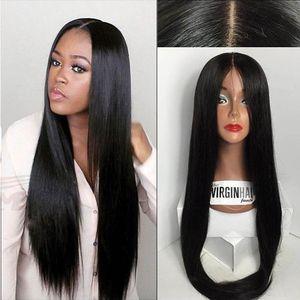 9A Silk Top perucas completas do laço do bebê de seda Cabelo Liso Cabelo Virgem parte dianteira do laço do cabelo humano Perucas Negras Brasileiros peruca Silk Base de Dados