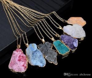 Unground нерегулярные натуральный камень кулон ожерелье кристалл кварца Drusy подвески для женщин diy ювелирные изделия заявление ювелирные изделия MOQ 20 шт.