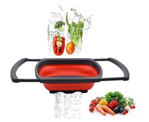 Кухонный дуршлаг складной фильтр над раковиной дуршлаг с ручками складной кухонный фильтр, Красный