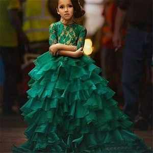 2017 Emerald Green Junior Girl's Pageant Dresses For Teens Princess Flower Girl Dresses Vestido de fiesta de cumpleaños Vestido de bola Organza manga larga