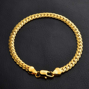 Bracelets 5mm Gold Fill Link Chain Bracelet for Men Gift Fashion Jewelry Wholesale Free Shipping 0516WH