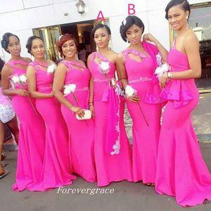 Elegante vestido de dama de honor fucsia sudafricano barato Un hombro con cuentas vestido de dama de honor vestido de boda vestido de invitado por encargo más tamaño