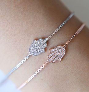 Bella originale gioielli in argento 925 Sterling Silver Hamsa Bracciale donna Crystal Link Chain Amicizia mano Brcaelet per le donne Bijoux regalo