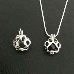 Paw Print Locket Pendant Mountings può mettere in un 7-8 MM perla gemma Bead Cage Ciondolo fai da te collana accessori bracciale carino bella Charms