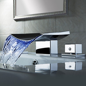 Cascade de robinet de salle de bains en gros Superfaucet, robinet de cascade de LED, cascade de robinet d'évier, robinet d'eau LED à température contrôlée