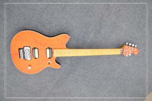 Atacado orange top acolchoado 6 cordas guitarra, maple pescoço, sistema tremelo, único controle, música clássica instrumento guitarra elétrica