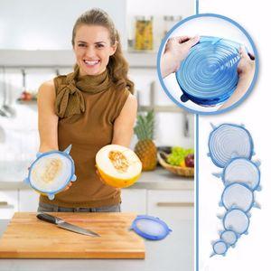 6PCS / 설정 범용 실리콘 흡입 뚜껑 그릇 냄비 요리 냄비 뚜껑 실리콘 스트레치 뚜껑 실리콘 커버 팬 유출 뚜껑 마개 커버를 들어 주방