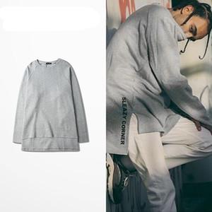 2017 Hip Hop Erkekler Genişletilmiş T Gömlek Düşük Yüksek Ekstra Uzun Kollu Tee Üst Rahat Lengthen Bölünmüş Tees Streetwear