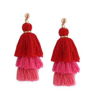 6 цветов кисточкой падение серьги ювелирные изделия горячий продавать элегантный пом пом серьги для женщин бахромой серьги для женщин