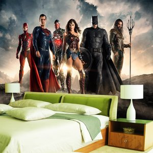 Fondo de pantalla 3D personalizado Liga de la Justicia Fotomural Superman Batman Fondo de pantalla de fotos Habitación de los niños Sala de estar del hotel Jardín de la infancia Decoración de la habitación