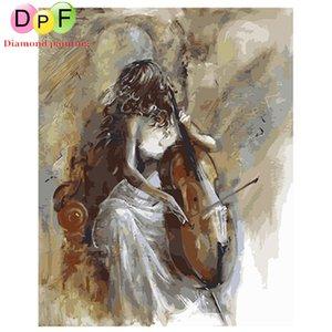 DPF peinture à l'huile numérique par numéro le violoniste Art décoration de la maison toile de peinture pour salon