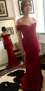 Red Trumpet Evening Dresses 2017 Summer Strapless Detachable Satin Sexy Prom Gown For Custom Made For Cheap