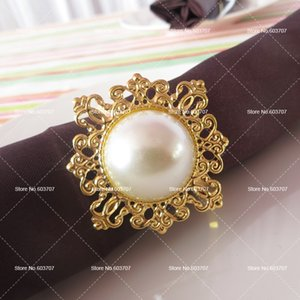 100PCS MOQ 5CM*5CM Round Ivory Pearl Square Shape Steel Napkin Ring Price For Wedding Decor Use