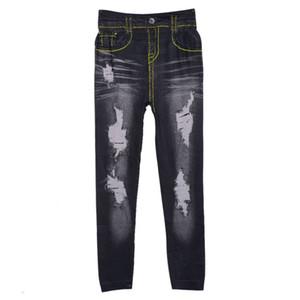 Wholesale- women denim tight slim pencil pants hole jean legging render pants leggings LZH7