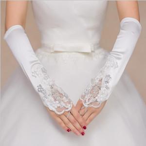 2018 neue Braut Perlen Handschuhe für Brautkleid Brautkleid freie Größe Handschuhe Verband fingerlose hohle Spitze Schlag Ellenbogen Länge