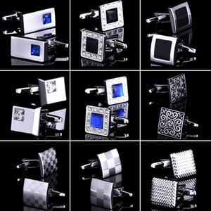 Luxus Silber Manschettenknöpfe verschiedene Stile Hemd Manschettenknöpfe für Männer neue Marke Kristalle Hochzeit Manschettenknopf Geschenk für Vatertag