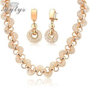 Mytys red de malla de oro rosa GP Shrimp shape net circones circones collar y aretes para mujeres BNIB N356