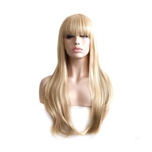 Kadınlar düzgün patlama Cosplay peruk WoodFestival sarı Peruk uzun düz saç Peruk elyaf ısıya dayanıklı sentetik peruk kaliteli ho olabilir