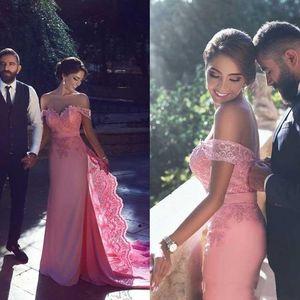 Benzersiz Kapalı Omuz Pembe Gelinlik Modelleri Dantel Aplike Abiye Örgün Parti Elbise Arapça Dubai Abiye robe de soiree arap