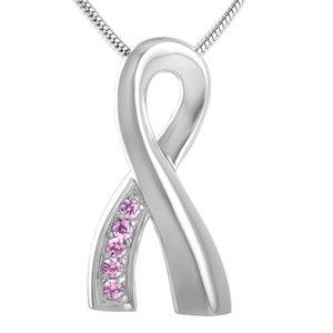Ribbon Edelstahl Feuerbestattung Anhänger Halskette Crystal Beerdigung Sarg Schmuck Asche Andenken Urn Halskette IJD8161
