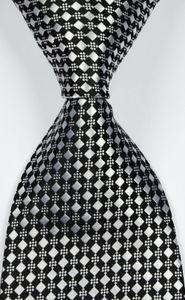 New Classic Checks Black Silver Cravate JACQUARD WOVEN Soie Hommes csw98