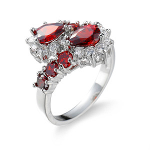 Red Ruby CZ Gem White Gold Filled Wedding Engagement Party Band Finger Ring Sz6-10