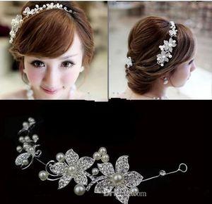 fashion Bridal Tiaras Crowns Stock Headband Wedding Hair Accessories Faux Pearl Flower Fascinator Shiny Crystal Tiara Red Bridal Jewelry