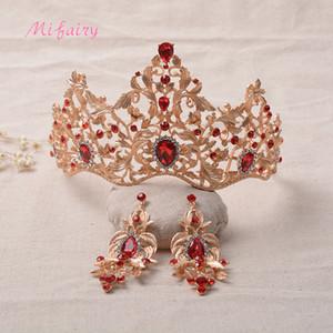 Vintage Barok Gelin Tiaras Setleri Altın Kırmızı Kristaller Prenses Şapkalar Çarpıcı Beyaz Diamonds Düğün Tiaras Ve Taçlar Setleri 15 * 10 H18