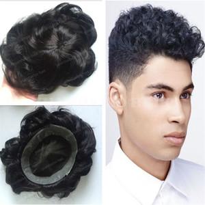 Pizzo con sottile pelle uomini Toupee grado superiore 12A 1B 32 millimetri onda Virgin brasiliano dei capelli umani corti Uomo Nero capelli parrucchino spedizione gratuita